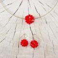 Ohrschmuck Silber mit roten Swarovski Kristallperlen, Silbercollier