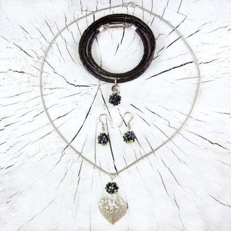 Geschenkset Schmuck Lava, edles schwarz-silbernes Design, aus Silber mit Kette Herz Anhänger Ohrringen Armband