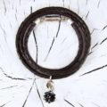 Geschenkset Schmuck Lava Schwarz, Armband mit edlem schwarz-silbernen Design