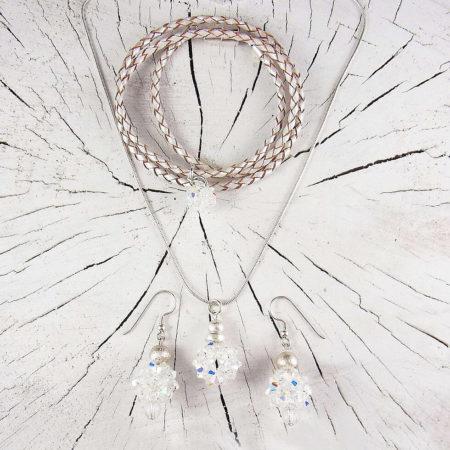 Set Hochzeitsschmuck für Glück kristallfarben