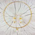 Hochzeitsschmuck Geschenkset Kristall-Gold Collier Ohrschmuck