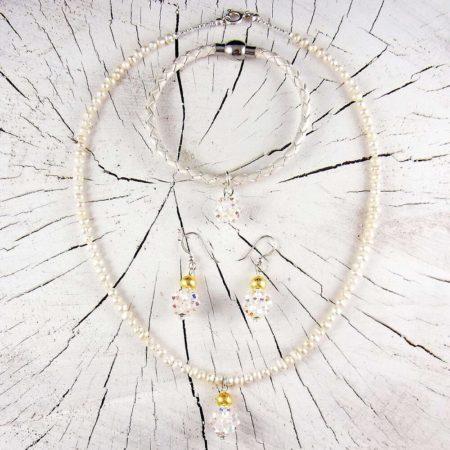 Hochzeits Geschenkset Schmuck Perlenkette Gold Silber Armband