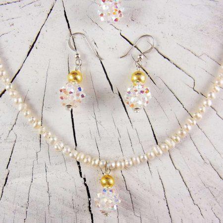 Hochzeits Geschenkset Schmuck Perlen Silber vergoldet
